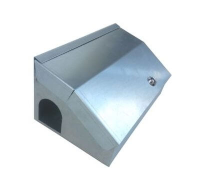 Galvanised rodent bait station