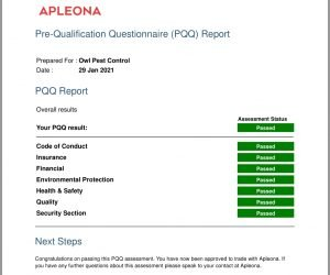 Apleona Ireland Qualification Results 2021 - Owl Pest Control