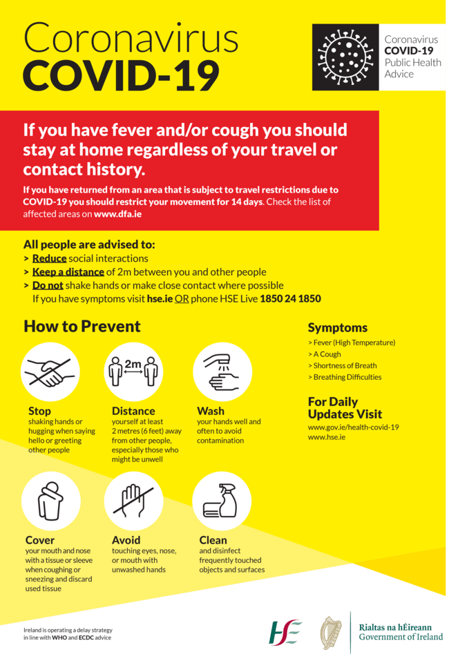 Coronavirus (COVID-19) HSE poster - Owl Pest Control Dublin